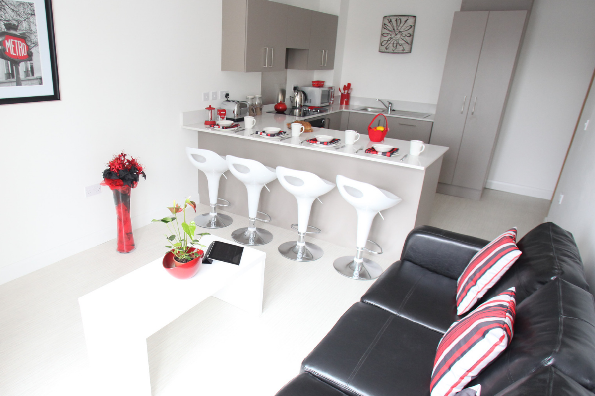 university student accommodation living area